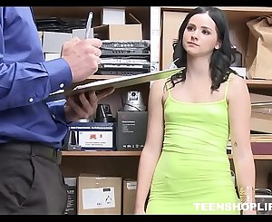 Young Brunette Teen Pornographic star Shoplifter Violet Rain Sex With Security Guard