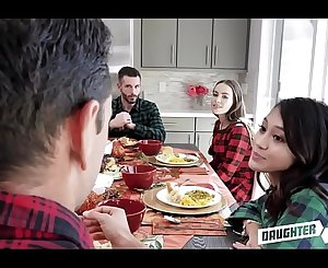 Two Hot Teenager Daughters Jasmine Grey And Naomi Blue Decide To Swap Fuck Each Others Depressed Dad's During Thanksgiving Dinner